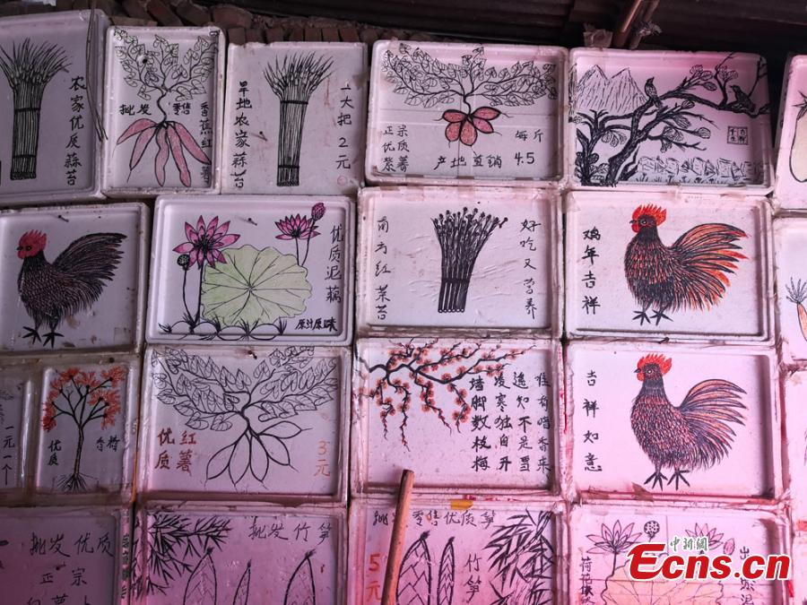 Vegetable seller enjoys hand-drawn price tags