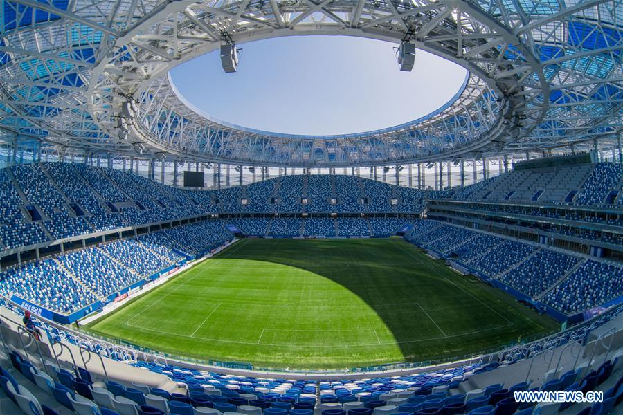 Nizhny Novgorod Stadium for 2018 World Cup seen in Volgogard, Russia