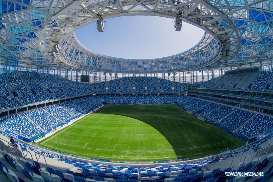 Nizhny Novgorod Stadium for 2018 World Cup seen in Volgogard, Russia