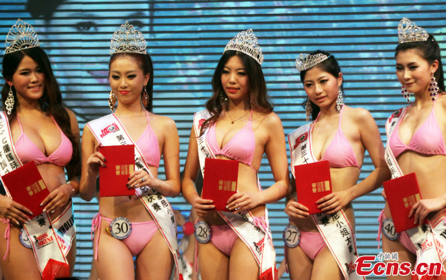 02adf5a05e3 Five winners pose in the awarding ceremony for the China final of the 37th  Miss Bikini International Competition in Zhaoqing, South China's Guangdong  ...