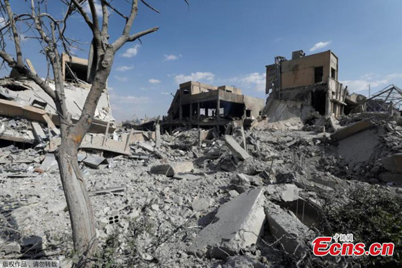 The destroyed Scientific Research Centre is seen in Damascus, Syria, April 14, 2018. (Photo/Agencies)