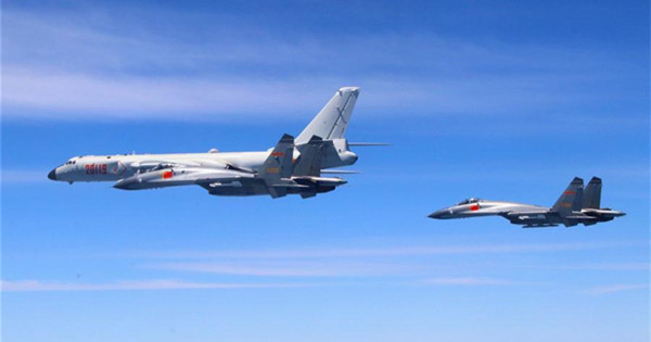 Chinese PLA air force conducts island patrol training