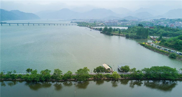 Aerial view of Sandu Township in Zhejiang