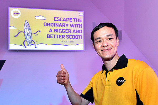 Lee Lik Hsin, CEO of Scoot Airways, soon after announcing the merger of Scoot and Tigerair on July 25, 2017. (Photo provided to China Daily)