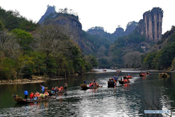 Tourists visit Wuyi Mountain during Chinese Lunar New Year holiday