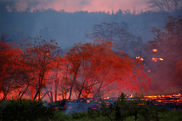 Hawaii volcano erupts rivers of fire and lava